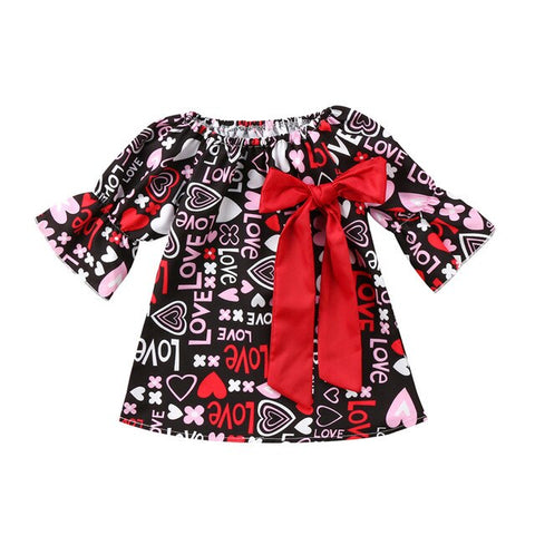 Image of 2019 New Arrival Fashion Valentines Day Hot Gift Toddler Baby Girls Bow Floral Party Pageant Formal Kids Dresses Popular Clothes