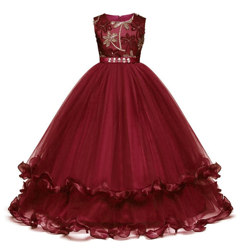 Image of Fancy Kids Flower Girl Dress For Girls Bridesmaid Outfits Elegant Princess Dress Party Prom Gown New Year Costume Vestido 10 12T