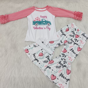 Long sleeves cotton tops ruffle pants set Valentines Day baby cotton clothes girls boutique outfits with heart pattern