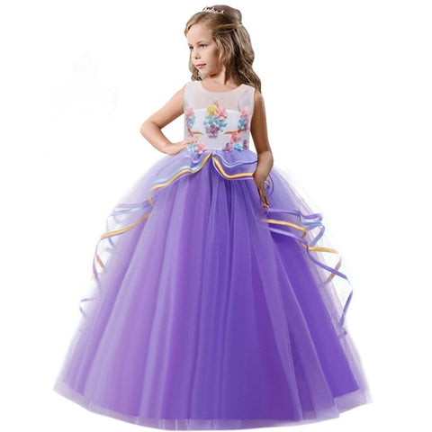 Image of Elegant Formal Dress Girls Clothing Flower Girls Wedding Evening Clothes Kids Dresses for Girls Princess Party Long Gown 6-14yrs