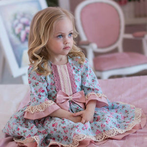 Toddler Kids Baby Girls Princess Formal Dress Lace Floral Bowknot Party Wedding Ball Gown Dresses Girls Spring Autumn Clothing