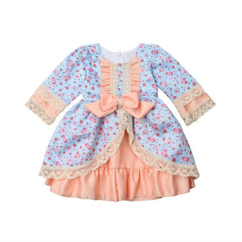 Image of Toddler Kids Baby Girls Princess Formal Dress Lace Floral Bowknot Party Wedding Ball Gown Dresses Girls Spring Autumn Clothing