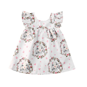 6M-4Y Toddler Newborn Baby Kid Girls Easter Dress Cute Bunny Flower Ruffles Party Dress For Girls Children Summer Costumes