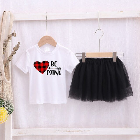 Image of Be Mine Kids Girls Valentines Party Dress 2pcs Toddler Valentine's Short Sleeve White T-shirt Tops Tulle Tutu Skirt Outfit Sets