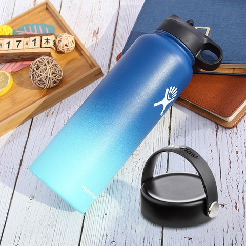 Image of Stainless Steel Water Bottle Thermos Hydroflask Outdoors Sports Wide Mouth Vacuum Insulated Thermal Tumbler Bottle hydro flask