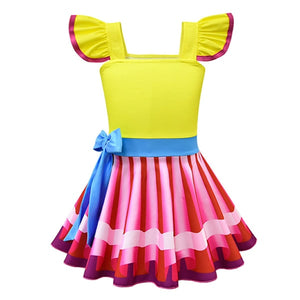 Nancy Fancy Dress For Girl Kids Summer Cosplay Party Outfits Colorful Striped Costumes Picture Book Character Dress Up Sets