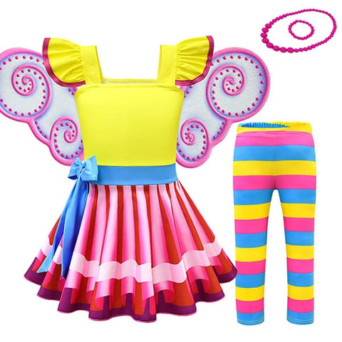 Image of Nancy Fancy Dress For Girl Kids Summer Cosplay Party Outfits Colorful Striped Costumes Picture Book Character Dress Up Sets