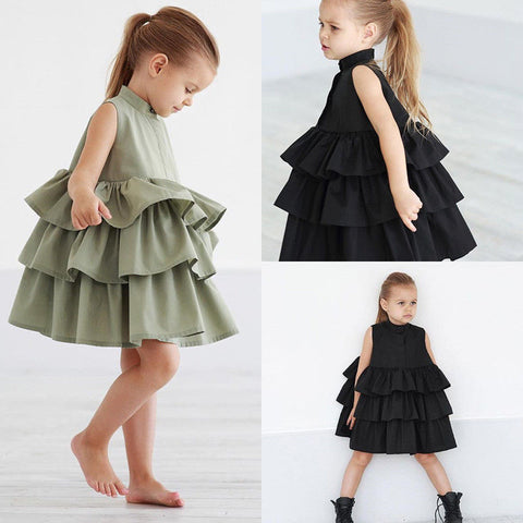 Image of Summer Cute Black Green Ball Gown Girls Dresses Kid Girl Party Dress Sleeveless O Neck Cake Ruffled Tutu Bubble Dress 2-6T