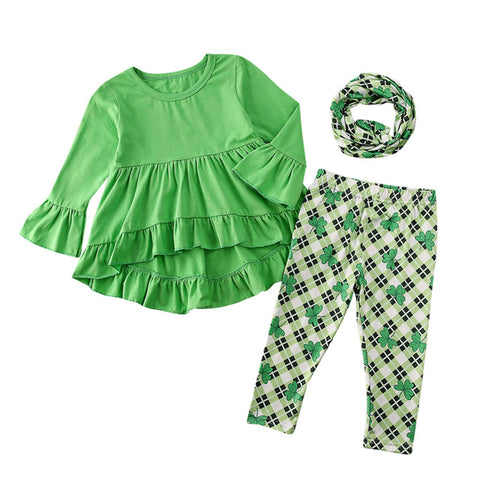 St Patricks Day Toddler Kids Baby Girl Outfits Set Ruffle Top Dress Clover Print Pants Legging Kids Clothes Spring Children Set