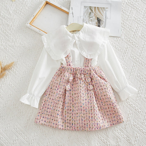 Image of kids clothes 2019 spring girls set long sleeve tops +skirts children 2pieces tracksuit baby girl clothing sets 2year baby outfit