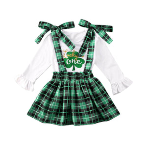 1-6Y St.Patrick's Day Clover Long Sleeve Green Plaid outfit