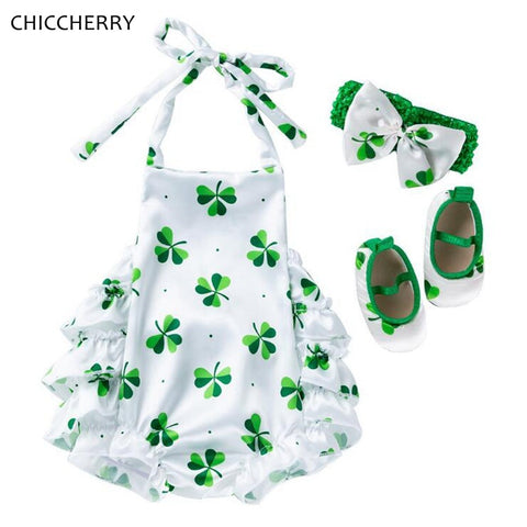 St Patricks Day Green Clover Kid Jumpsuit Headband Crib Shoes Newborn Baby Girl Clothes Sets Infant Clothing Little Girls Outfit