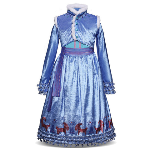 Image of Girls Dress Christmas Anna Elsa Cosplay Costume Dresses Girl Princess Elsa Dress for Birthday Party Children Kids Clothing
