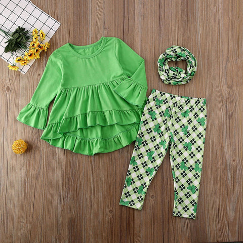 Image of St Patricks Day Toddler Kids Baby Girl Ruffle Top Dress Clover Print Pants Legging Outfits Set Kids Clothes Spring Children Set