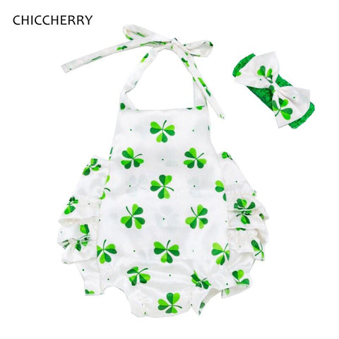 Image of Fashion 2020 New Arrival Green Clover St Patricks Day Outfit Baby Girl Clothes Set Kids Jumpsuit Romper Headband Infant Clothing