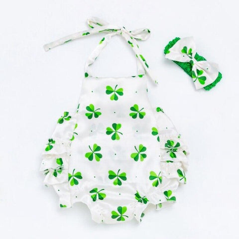Fashion 2020 New Arrival Green Clover St Patricks Day Outfit Baby Girl Clothes Set Kids Jumpsuit Romper Headband Infant Clothing