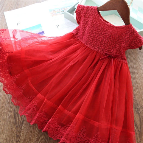 Image of Elegant Flower Girls Dress Wedding Party Princess Dress Casual Kids Clothes Lace Long Sleeves Dress Children's Vestidos For 3-8T