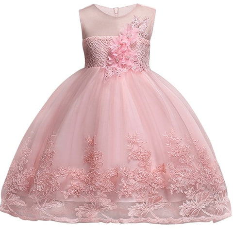 Image of 2020 Lace Sequins Formal Evening Wedding Gown Tutu Princess Dress Flower Girls Children Clothing Kids Party For Girl Clothes