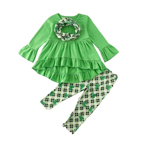 3pcs/Set 6M-5T Toddler Kids Baby Girl Clothes Children ST Patricks Day Costumes Clover Print Tracksuits Outfits Green Tunic+Pant