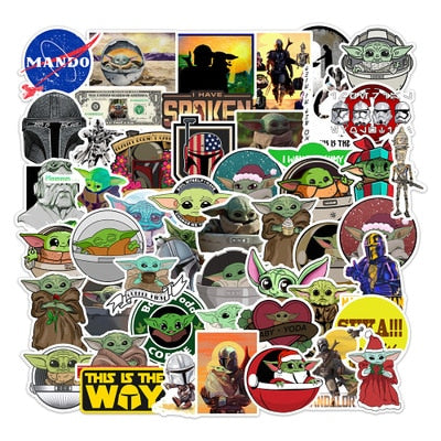 50 PCS Vsco Stickers Pack For Girl Things Baby Yoda Stickers On Laptop Fridge Phone Skateboard Suitcase Waterproof Dropshipping