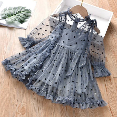 Image of Thunderers Fashion Girl Party Dresses Mesh Dots Long Sleeve Children Princess Dress Casual Elegant Kids Dress Baby Clothes