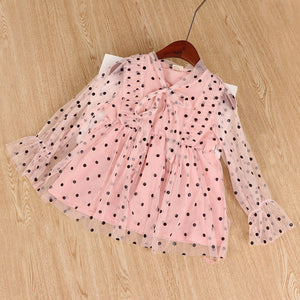 Thunderers Fashion Girl Party Dresses Mesh Dots Long Sleeve Children Princess Dress Casual Elegant Kids Dress Baby Clothes