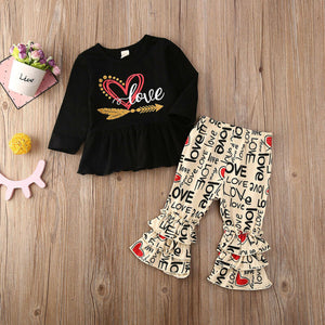 Spring Toddler Baby Girls Top Long Sleeve O-neck T Shirt Letter Flare Pants Kids Outfits Set Valentines Day Clothes Tracksuit