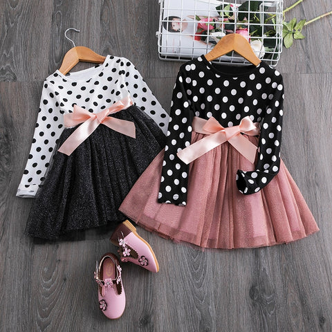Image of Boutique Girls Polka Dot With Bow Dress (9 New Styles)