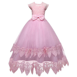 White Flower Girls Dresses For Wedding Tulle Lace Long Girl Dress Party Christmas Dress Children Princess Costume For Kids 12T