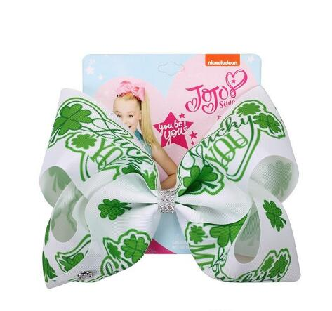 Image of HOT St. Patrick's Day Hair Bow Hairpins for Saint Patrick Clover Printed Grosgrain 8INCH Girls Hairband Barrettes Accessories
