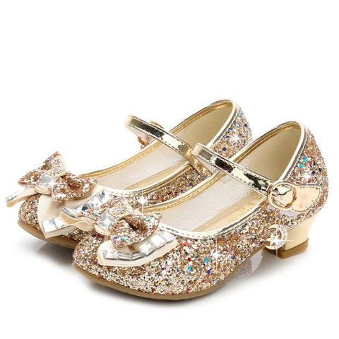 Image of Princess Kids Leather Shoes for Girls Flower Casual Glitter Children High Heel Girls Shoes Butterfly Knot Blue Pink Silver