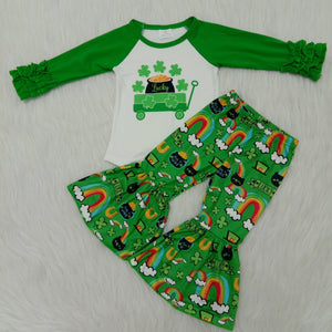 St patrick day baby girl clothing 2020 new fashion green long sleeve shirt bell bottoms spring boutique outfit kids holiday wear