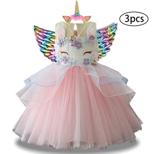 New Girls Dress 3Pcs Kids Dresses For Girl Unicorn Party Dress Easter Carnival Costume Children Princess Dress 3 5 6 8 9 10 Year