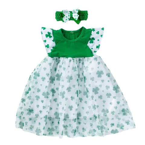 Image of St. Patricks Day Baby Girls Dresses Headband Gauze Skirt Clover Printed Dresses Fashion Party Costume (Fit for 3M-2 Years Old)