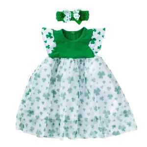 St. Patricks Day Baby Girls Dresses Headband Gauze Skirt Clover Printed Dresses Fashion Party Costume (Fit for 3M-2 Years Old)