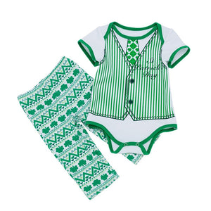 Green plaid Toddler Baby Girl clothes set St. Patrick Toddler Baby Leaf Stripe Print Romper+Wave Pants Set Outfit