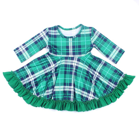 Image of Wholesale New Design Baby girls Clothes Dress Girls Princess Green Plaid Dress Half Sleeve Milksilk Boutique Clothing St Patrick