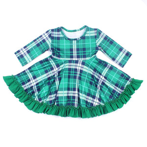 Wholesale New Design Baby girls Clothes Dress Girls Princess Green Plaid Dress Half Sleeve Milksilk Boutique Clothing St Patrick