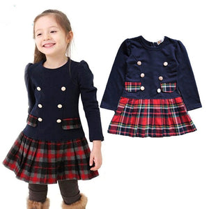 2020 3-7years Fall spring Double Breasted Dress for Girls Children Baby Plaid Full Sleeve Dress School Dresses for Kid Girls