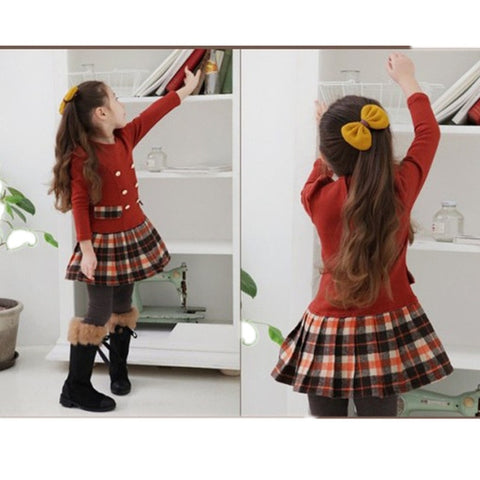 Image of 2020 3-7years Fall spring Double Breasted Dress for Girls Children Baby Plaid Full Sleeve Dress School Dresses for Kid Girls