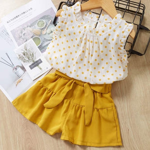 Melario Girls Clothing Sets Summer Baby Girls Clothes New Dot T-Shirt Top Pants 2Pcs Suit Casual Children Clothes Girls Outfit