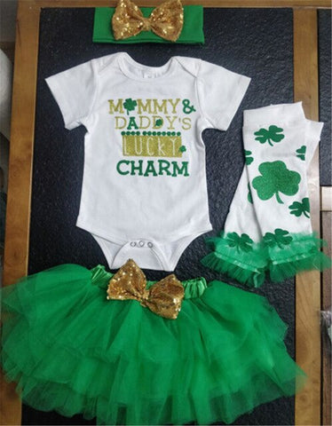 Newborn Baby Girls My 1st Valentine'S Day Outfits St Patricks Day Baby Girls Outfits Clothes Clover Romper Tutu Skirt Girls Set