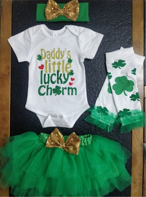 Baby Boys Outfit Set My First St Patricks Day Lucky Clover Long Sleeve Bodysuit