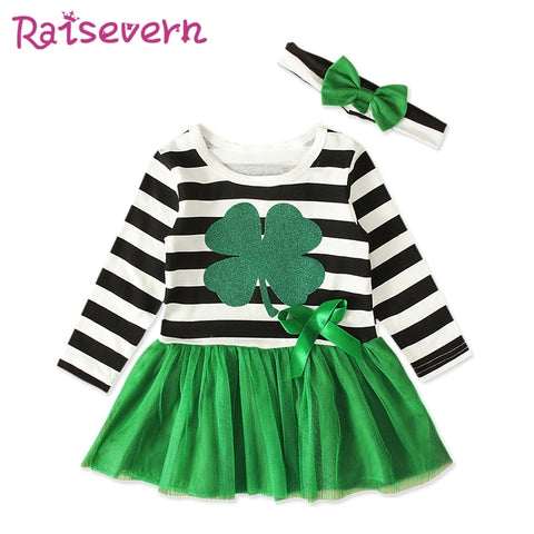 Green St Patricks Day Girls Set Outfit Mesh Patchwork Dress BowKnot Headband Tutu Sets Baby Girl Summer Clothes Infant Clothing