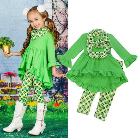 St Patricks Day Toddler Little Girl Clothes Ruffle Flare Long Sleeve Tops Dress Four Leaf Clover Leggings Pants Outfit