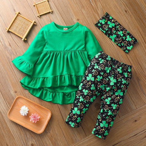 St Patricks Day Baby Girl Clothes Set Long Sleeve Green Tunic Legging Pants Newborn Girl Outfits Green Spring Clothes For Girl