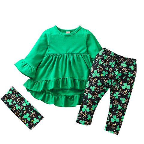 Image of St Patricks Day Baby Girl Clothes Set Long Sleeve Green Tunic Legging Pants Newborn Girl Outfits Green Spring Clothes For Girl