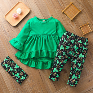 Green Spring Clothes For Girl St Patricks Day Baby Girl Clothes Set Long Sleeve Green Tunic Legging Pants Newborn Girl Outfits