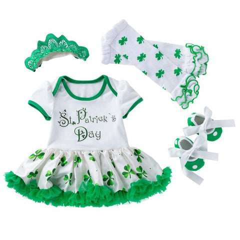 Image of St. Patrick Shamrock Harness Puff Skirt Hair Band Leg Covers Shoes teen girl clothes Dress Headband Shoes Leg Warmer 4 PCS L1217