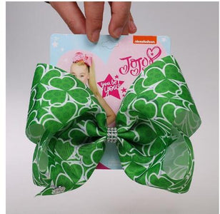 St. Patrick's Day Hair Bow Hairpins for Saint Patrick Clover Printed Grosgrain 8INCH Girls Hairband Barrettes Accessories 8pcs